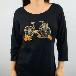 Karen Scott embellished bike pumpkin shirt